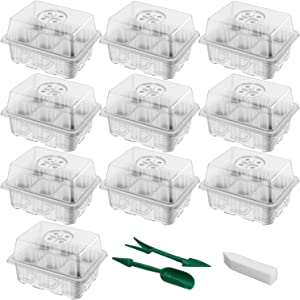 SUNNIOR 10 Sets Seedling Starter Tray, Greenhouse Grow Trays Plant Starter Kit with Adjustable Dome and Base, Seed Propagator Mini Germination Boxes for Plant Growing (6 Grids per Tray)