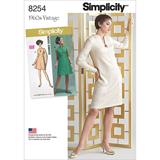 Simplicity Creative Patterns US8254AA 8254 Simplicity Pattern 8254 1960'S Vintage dress for Miss & Plus Sizes, Size: AA (10-12-14-16-18),,