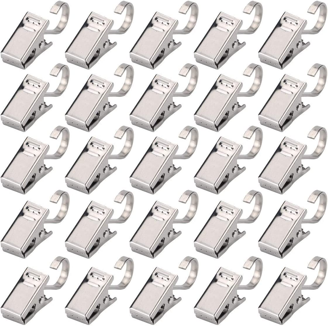 Curtain Clips with Hook - 30pcs Stainless Steel Heavy Duty Satin Nickel Clamp for Shower, Photos, Home Decoration, Outdoor Party, Wire Holder