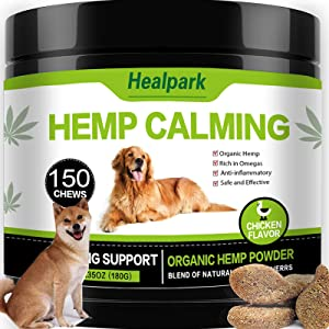 Hemp Calming Treats for Dogs - 150 Chews - Hemp Oil for Dogs - Dog Anxiety Relief - Natural Calming Aid - Stress - Fireworks | Aggressive Behavior (Chicken Flavor)