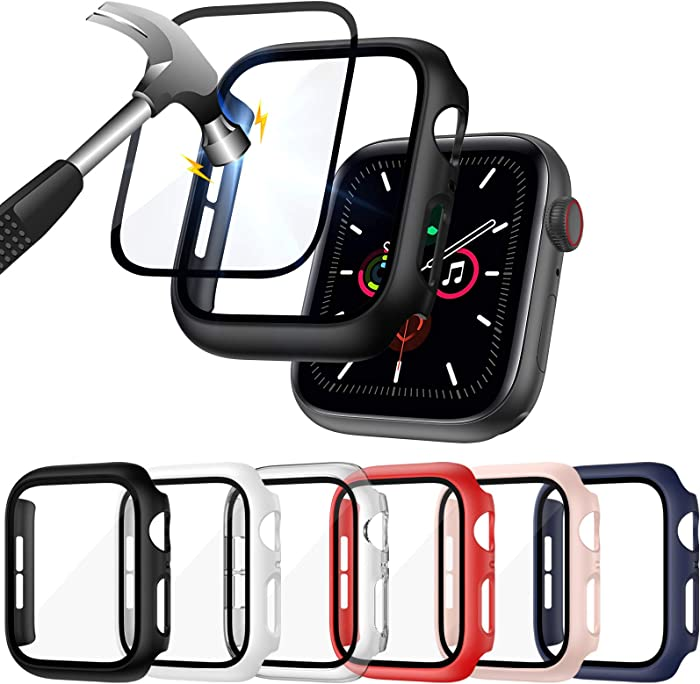ZEBRE [6 Pack] Hard PC Case Compatible with Apple Watch SE/Series 6 / Series 5 / Series 4 40mm with Built in 9H Tempered Glass Screen Protector- All Around Full Coverage Protective Cover Bumper