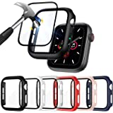 ZEBRE [6 Pack] Hard PC Case Compatible with Apple Watch SE/Series 6 / Series 5 / Series 4 44mm with Built in 9H Tempered Glas