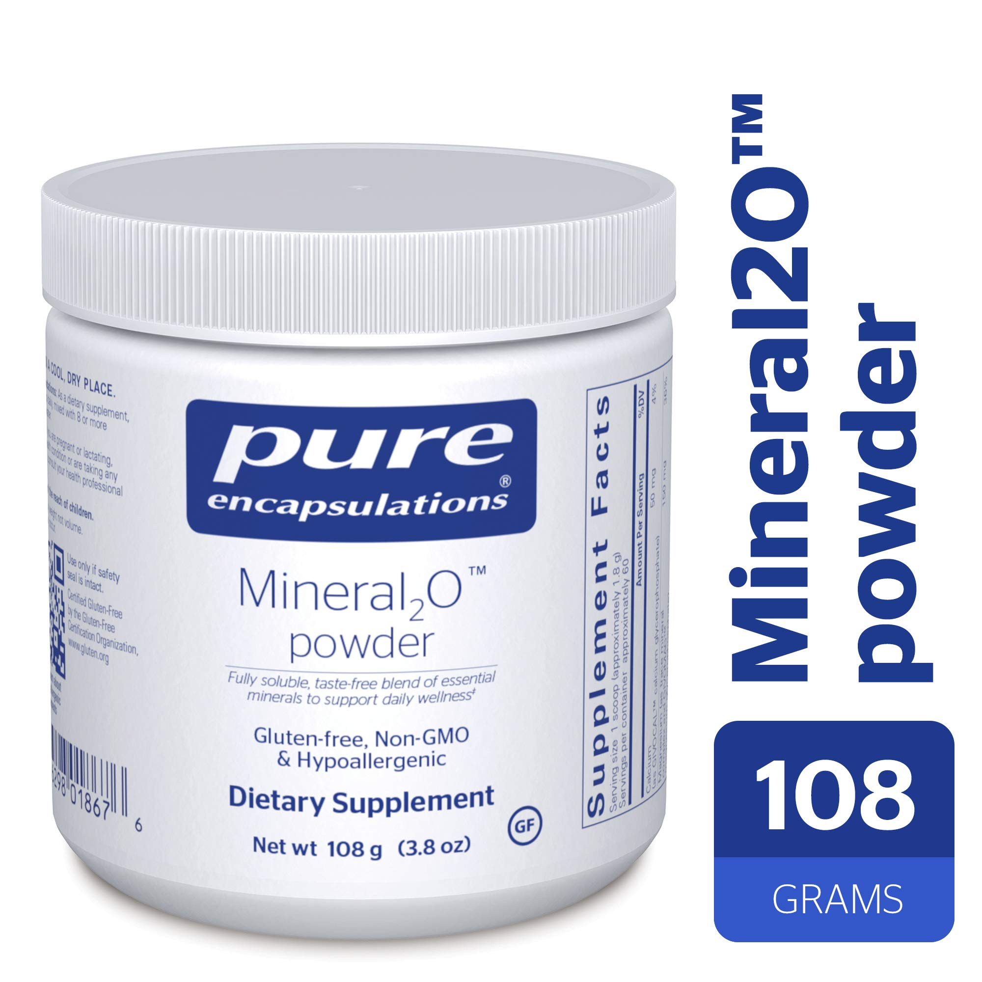 Pure Encapsulations - Mineral2O Powder - Mineral Water Enhancer - 108 Grams by Pure Encapsulations (Image #1)