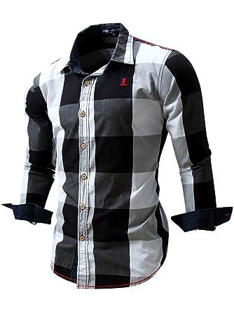 Neleus Mens Long Sleeve Button Down Plaid Shirts112blackstag