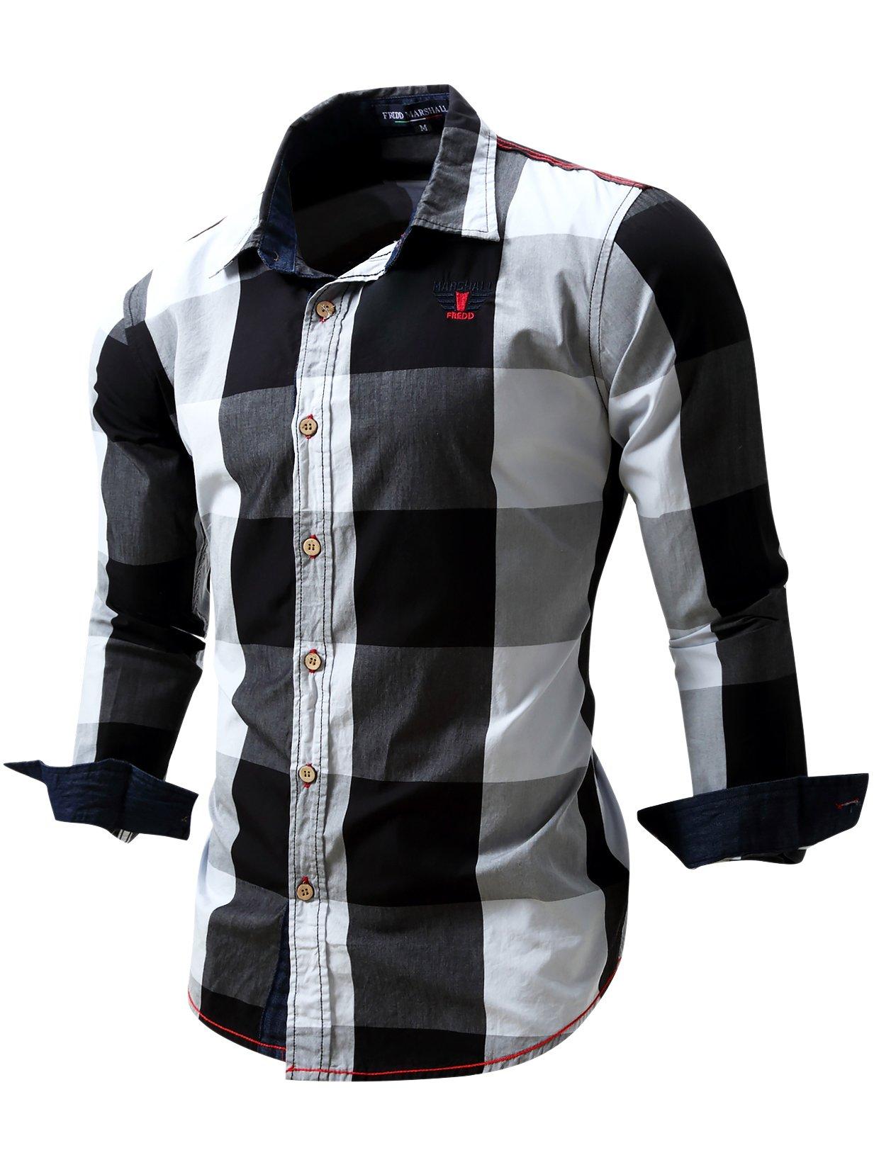 Neleus Men's Long Sleeve Button Down Plaid Shirts,112,Black,XL,EUR Tag 3XL
