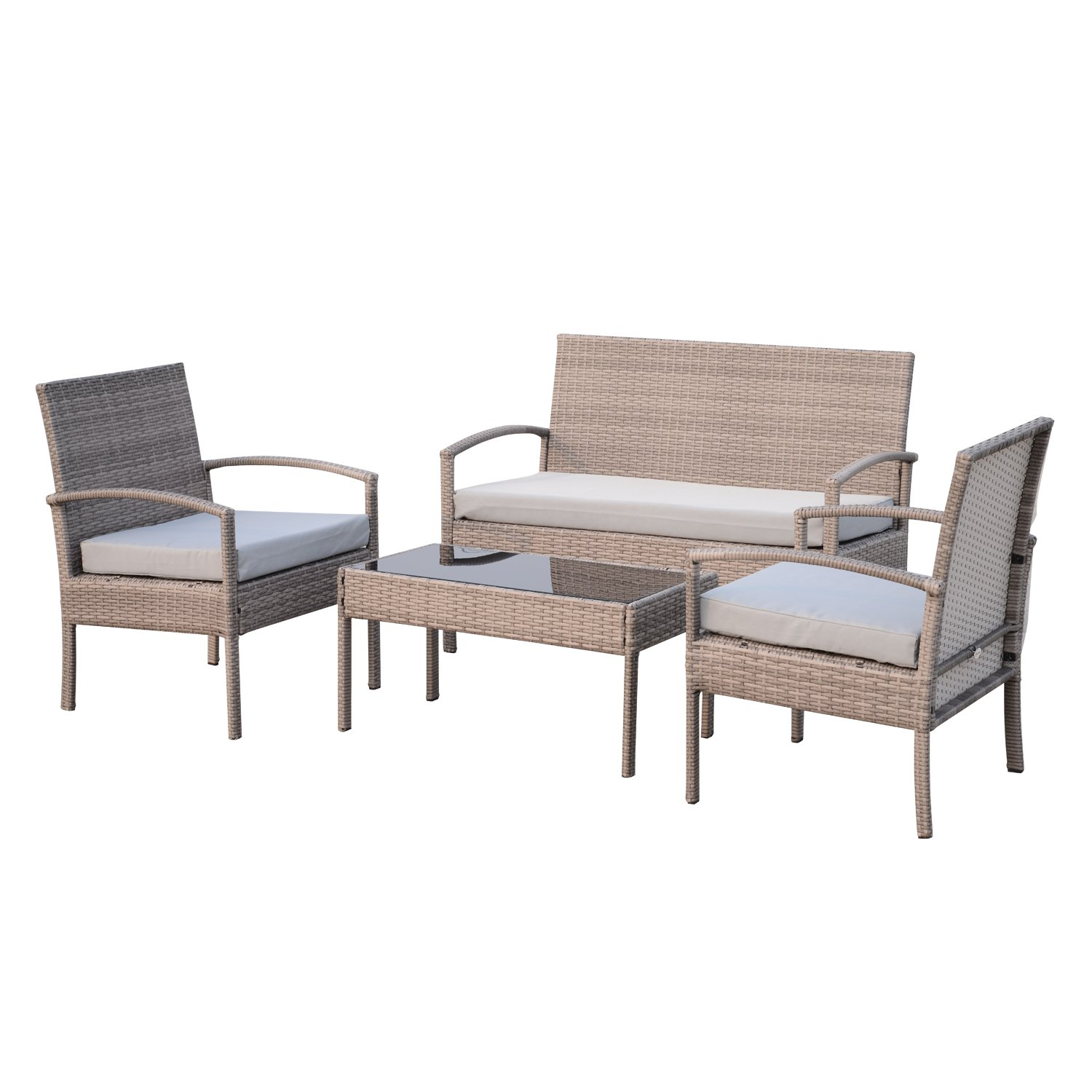 Outsunny 4 Piece Outdoor Rattan Wicker Patio Conversation Set - Light Grey by Outsunny