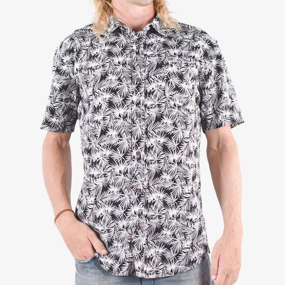Home Grown Woven Mens Shirt WSL Black Palm Patterns Tropicalia Black Comfort