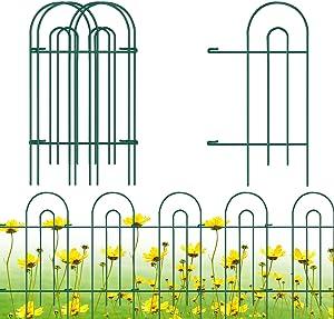 "Gtongoko Decorative Garden Fence 32"" x 17"",Garden Barrier Portable Decorative Flower Fence,Animal Barrier,Border Garden Fence for Landscape,Trees,Flower Beds,Shrubs,Gardens,Green,Pack of 12"