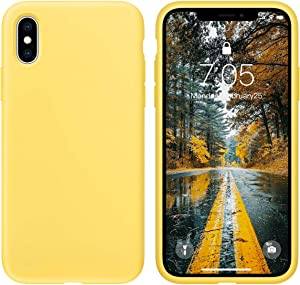 OUXUL Case for iPhone X/iPhone Xs case Liquid Silicone Gel Rubber Phone Case,iPhone X/iPhone Xs 5.8 Inch Full Body Slim Soft Microfiber Lining Protective Case(Yellow)