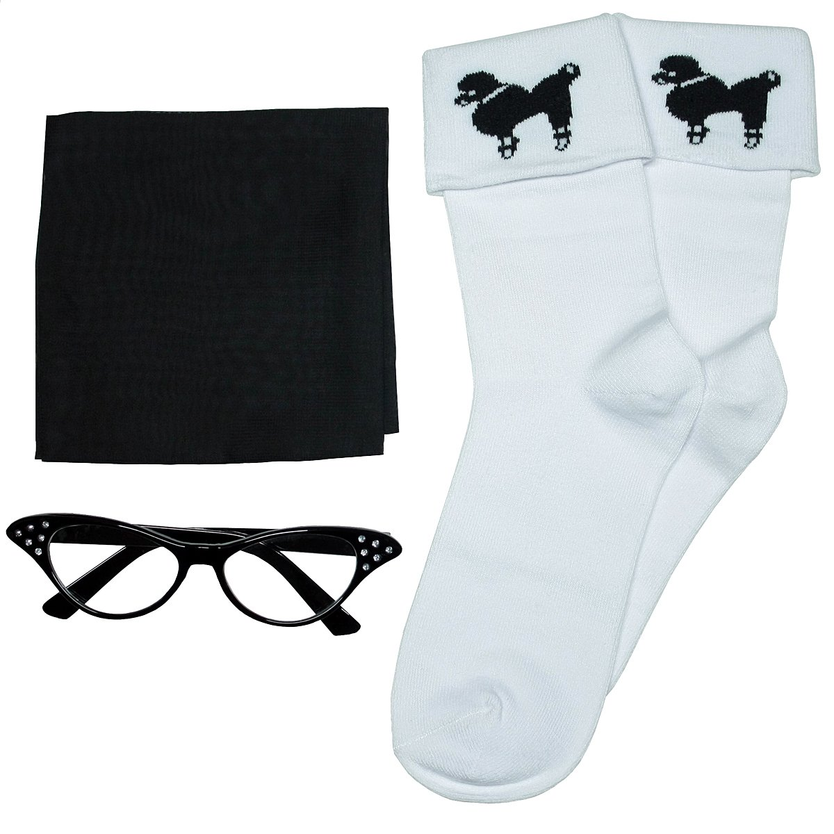 3 BIG NOTES - Adult 3 Pcs Accessories for Poodle Skirts (Cateye Glasses, Scarf, Socks) (Black)
