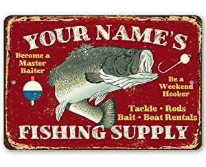"""Personalized Fishing Supply Metal Sign - Durable Metal Sign - 8"""" x 12"""" or 12"""" x 18"""" Use Indoor/Outdoor - Great Bait Shop, Lake House, and Beach House Decor and Gift for Fisherman Under $25"""