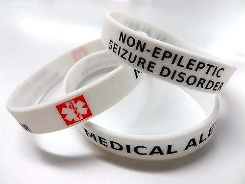 New Epileptic Medical Alert 1 X Black Wristband Epilepsy