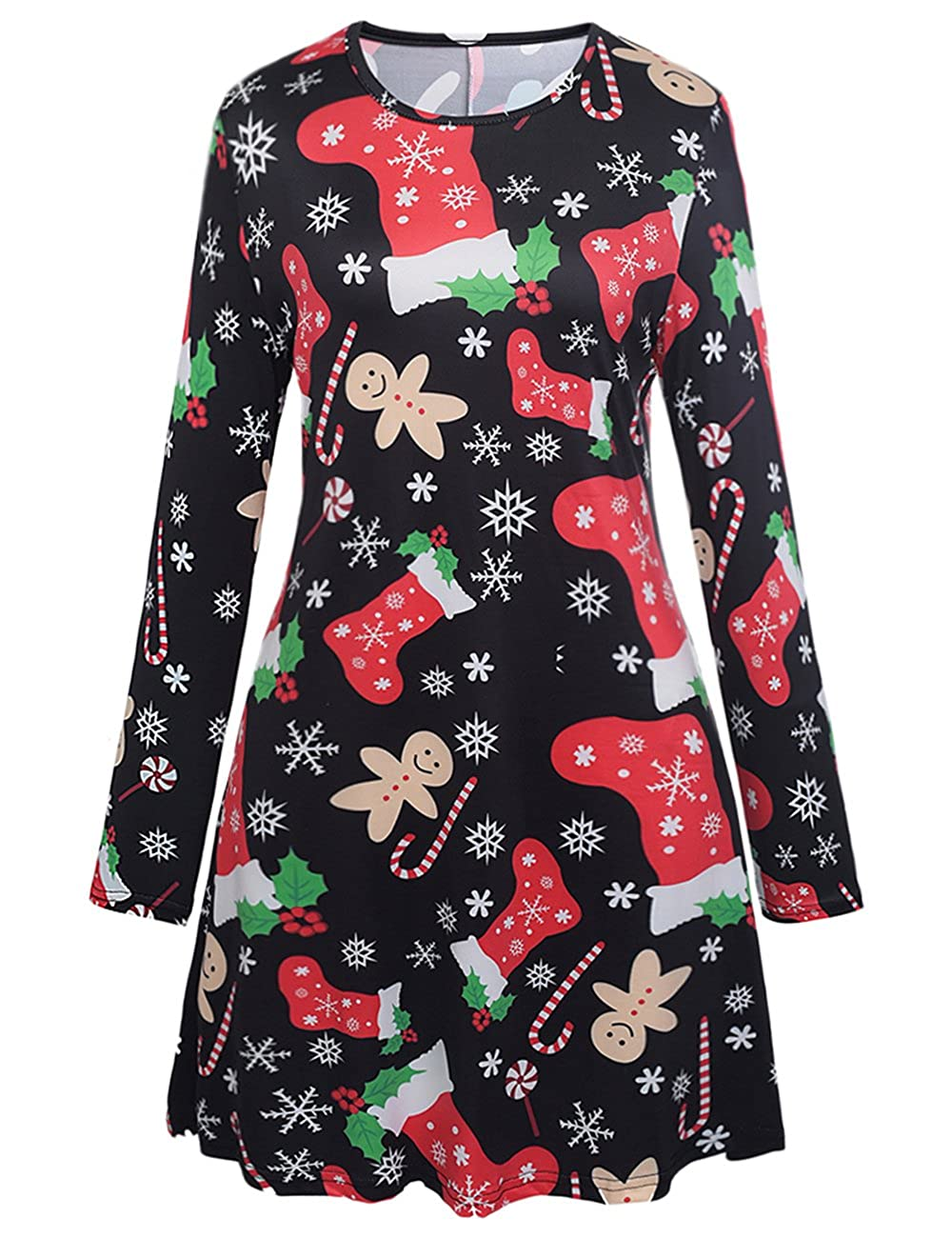 Ruiyige Women Girl Women's Christmas Santa Claus Print Pullover Flared A Line Dress Xmas-HatPrint