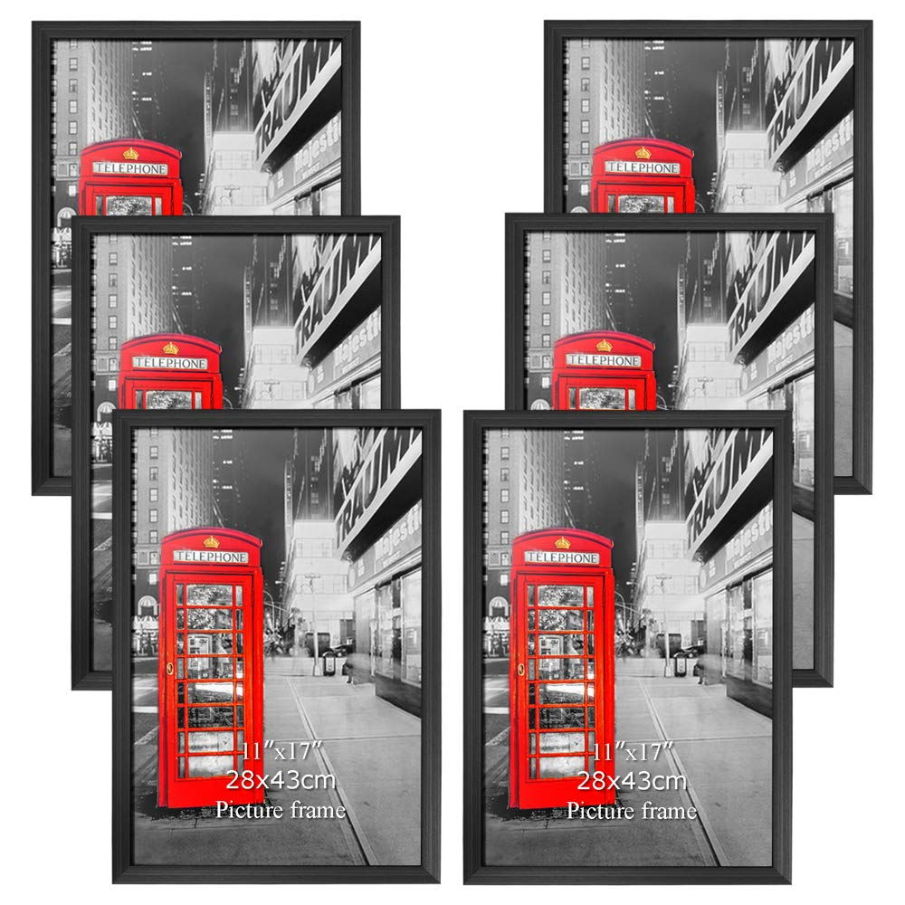 Amazing Roo Poster Frame 11x17 Inch Black Picture Frames 6 Pack Without Mat 11 by 17 Wall Mounting Photo Frame by Amazing Roo