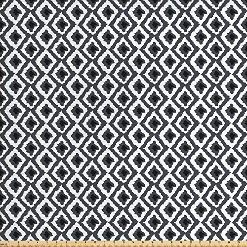 Ambesonne Geometric Fabric by the Yard, Hand Drawn Greyscale Illustration of Rhombuses Diagonal Herringbone Lines, Decorative Fabric for Upholstery and Home Accents, Grey Charcoal Grey - Geometric Upholstery