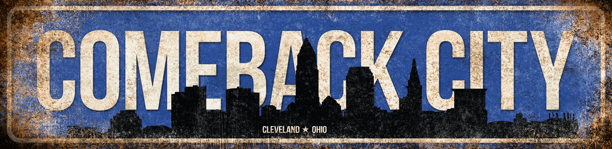 Comeback City Cleveland Ohio Metal Sign 4x18 inch