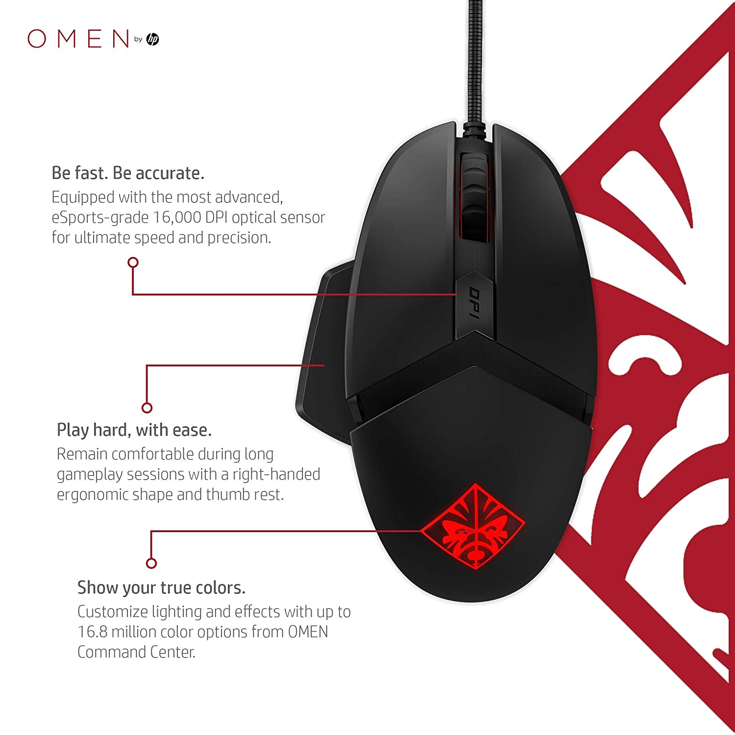 OMEN by HP Wired USB Gaming Reactor Mouse (Black/Red)