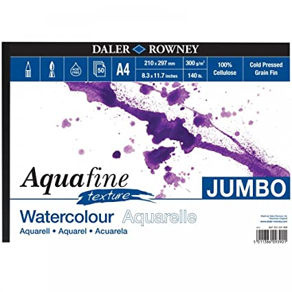300gsm A3 TEXTURE Daler Rowney Aquafine Watercolour Pad 12 Sheets 140lb