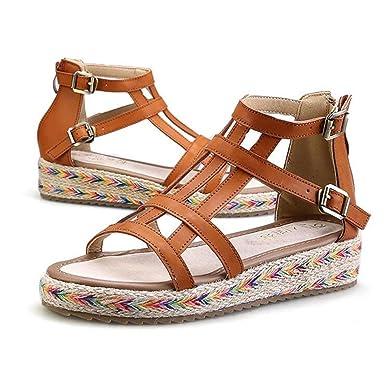 Amazon.com  Bandage Gladiator Sandals Summer Flat Sandals Boots ... b146c683c