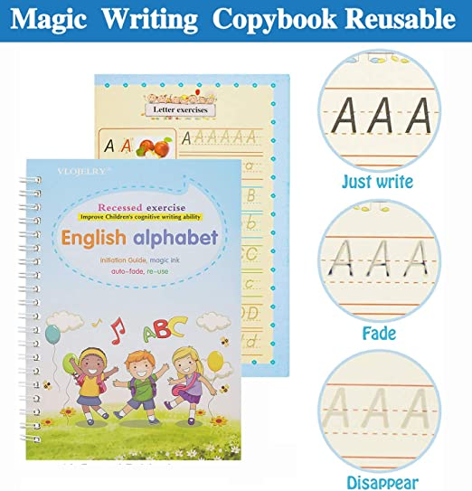 Calligraphy Tracing for Kid Alphabet Writing with a Pen Magic Handwriting Practice Copybook for Kids Color C 4 Pcs All English Reusable Groove Flowing Handwriting Paste for Children Toddlers