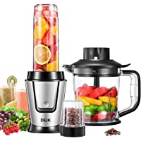 Deik Blender Smoothie Maker, Active Personal Blender with Grinder and 1.2 L Kitchen Food Processor, 3 in 1 Multi Portable Mini Juicer, 600ml Tritan Travel Bottle, 4 Stainless Steel Sharp Blades, 500W