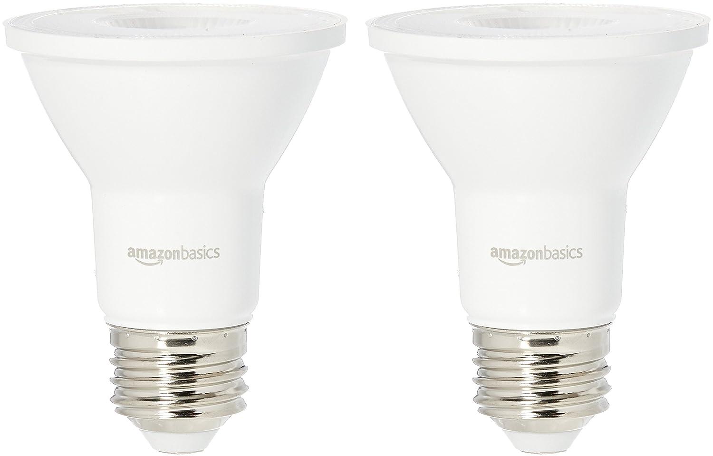 AmazonBasics 50 Watt Equivalent, Bright White, Dimmable, PAR20 LED Light Bulb | 2-Pack