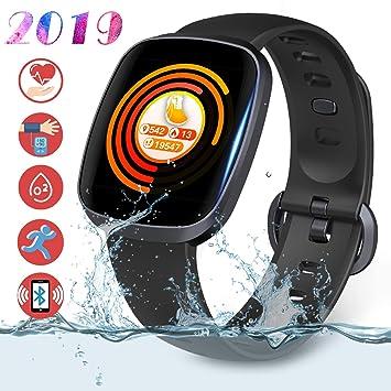 30c1343132be Smartwatch Fitness Tracker Pantalla Táctil Completa - Rastreador de  Actividad Deportiva Presión Arterial Monitor de Sueño Podómetro Pulsera ...