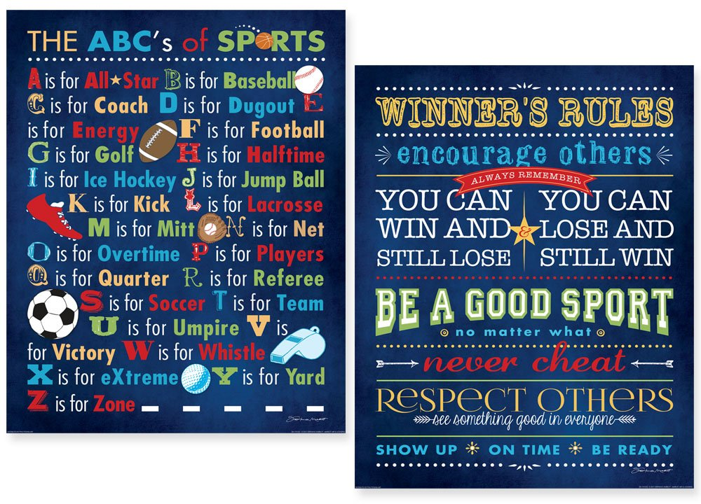 Popular ABCs Of Sports and Winners Rules Prints; Two 11x14 Poster Prints Gango Home Décor