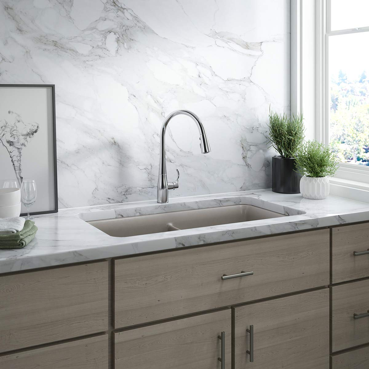 KOHLER K-596-CP Simplice High-Arch Single-Hole or Three-Hole, Single Handle, Pull-Down Sprayer Kitchen Faucet, Polished Chrome with 3-function Spray Head, Sweep Spray and Docking Spray Head Technology by Kohler (Image #4)
