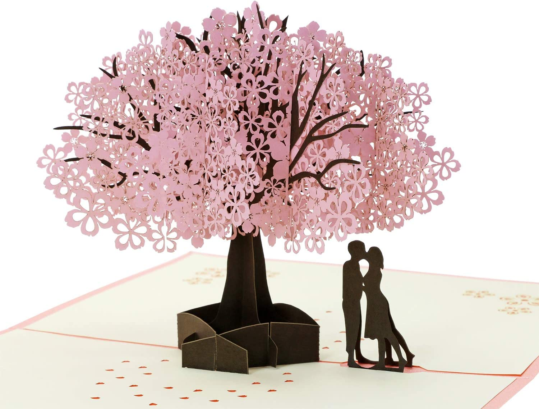 Peach Blossom Greeting Cards Handmade Birthday Wedding Invitation 3D Pop Up Card