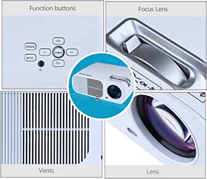 Crenova XPE600 BL-20 800 X 480 Portable LED Projector,2600 Lumens ...