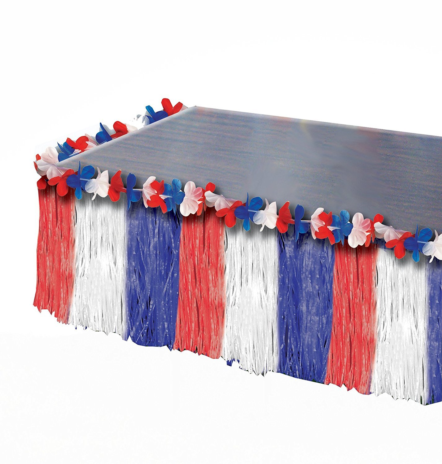 July 4th Independence Day Red White Blue America Patriotic Table Skirt Pkg/12