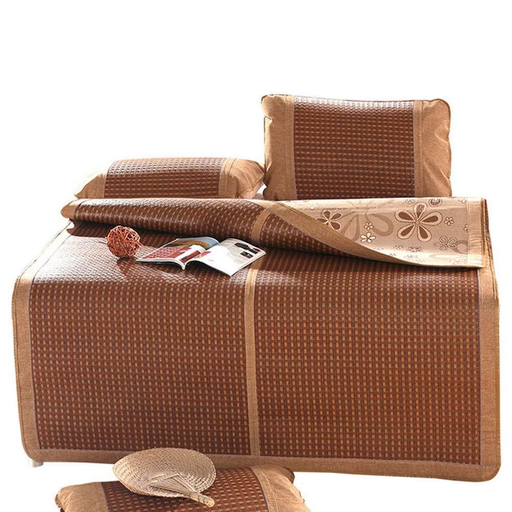 Evav Double-Sided Rattan Cooling Summer Sleeping Pad Mattress Topper & Pillow Shams Set, 3 Piece Set Folding Ice Silk Mat (Size : 1.5×1.95m) by Evav