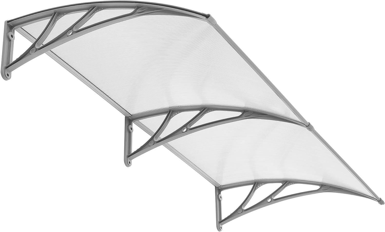PP Halterung,T/ürdach f/ür drau/ßen Sonnenschutz Regenschutz Hengda Vordach f/ür Haust/ür 120 x 100 cm Pultbogenvordach Transparent Polycarbonat Pultvordach /Überdachung 5 mm