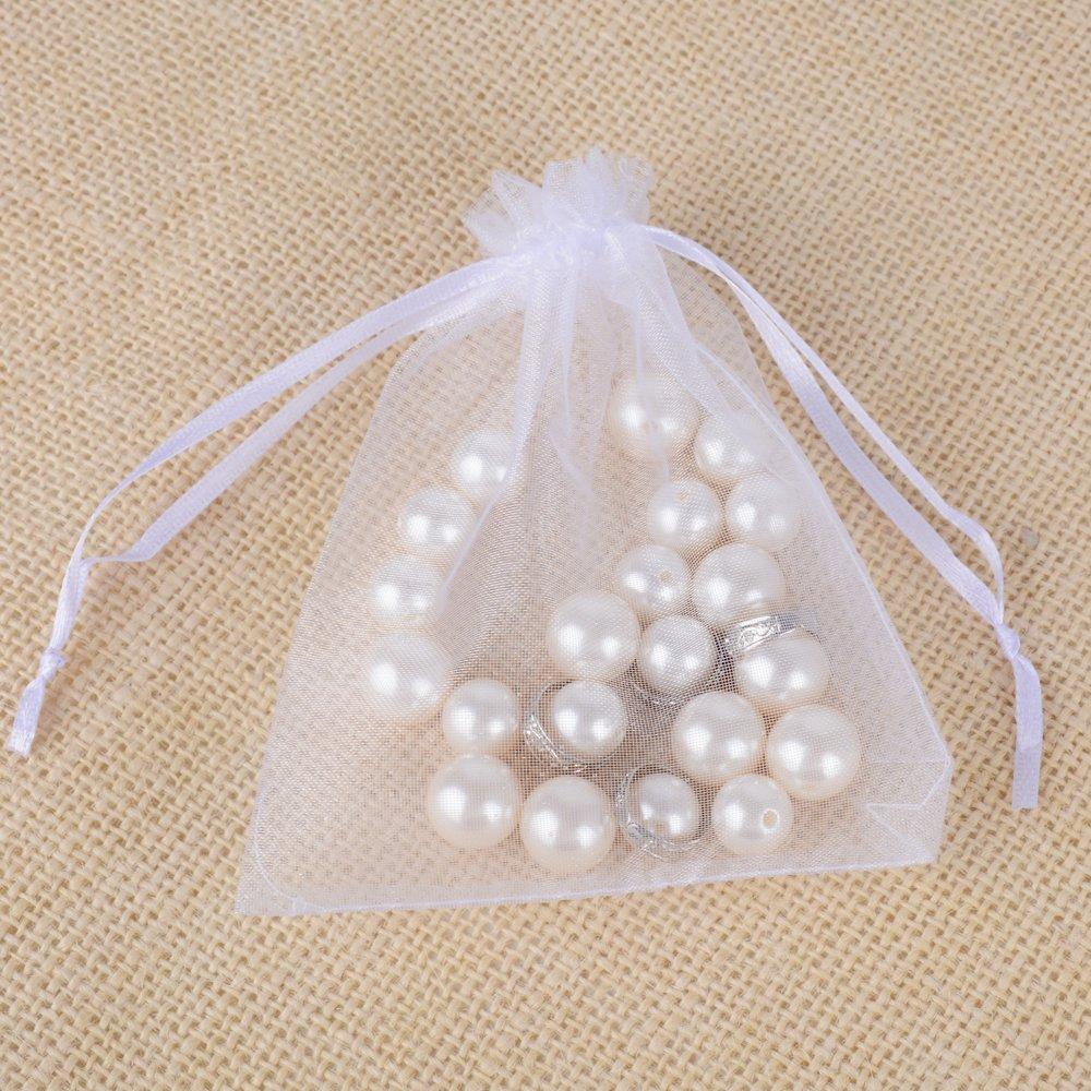 12cm Pochettes Sachets Blancs Sacs Cadeau Bijoux en Organza AONER 100 pcs 10