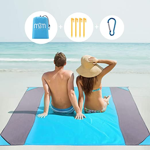MAYMEET Football Team Logo Sand Free Beach Blanket,Portable Lightweight Beach mat 79x57
