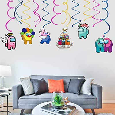 for Children Among Us Theme Birthday Party Favors Supplies 30PCS Among Us Hanging Swirls Ceiling Streamers Decorations