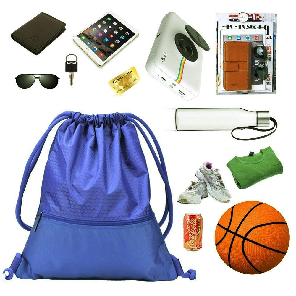 fb5217fa29da zenwow cordón bolsa – deportes resistente al agua PE – Bolsa para la  escuela mochila de deporte bolsa de natación Negro con gran bolsillo con ...