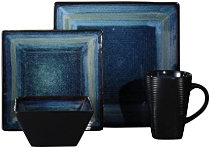 (Service For 8) 32 piece Dinnerware Set Oneida Adriatic Blue Stoneware  sc 1 st  Amazon.com & Amazon.com | (Service For 8) 32 piece Dinnerware Set Oneida Adriatic ...
