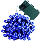 Qedertek Battery Christmas Lights, Christmas String Lights 50 LED 13.1ft Decorative Lighting with 8 Modes for Holiday, Party, Garden, Patio, Xmas, Lawn (Blue)