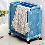 HOMIES INTERNATIONAL Multipurpose European Style Floral Design Foldable Trolley Laundry Basket/Bag/Hamper with Wheels and Lid,54x34x46cm (Blue)
