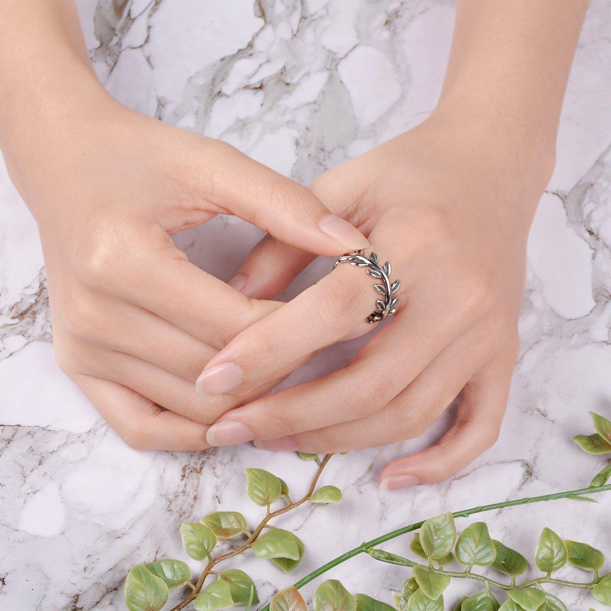 Twenty Plus Simple Sterling Silver Laurel Wreath Finger Ring Gifts For Women & Girls by Twenty Plus (Image #3)