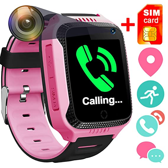 [SIM Card Included]Smart Watch for Girls Boys Ages 3-12, GPS Locator Pedometer Fitness Tracker Touch Camera Games Light Touch Anti Lost Alarm Clock ...