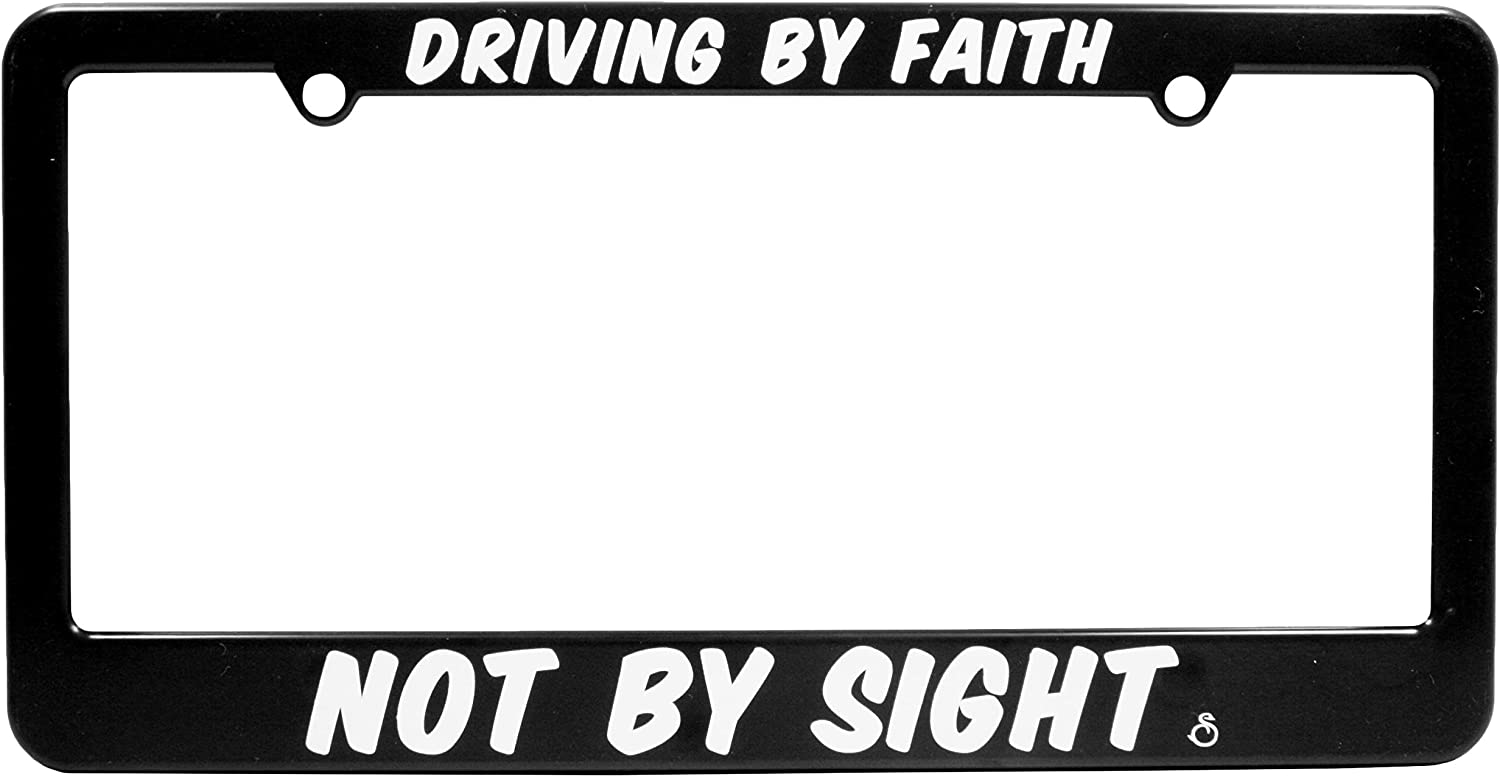 6 x 12 inches Religious Swanson License Plate Frame Driving by Faith Black//White