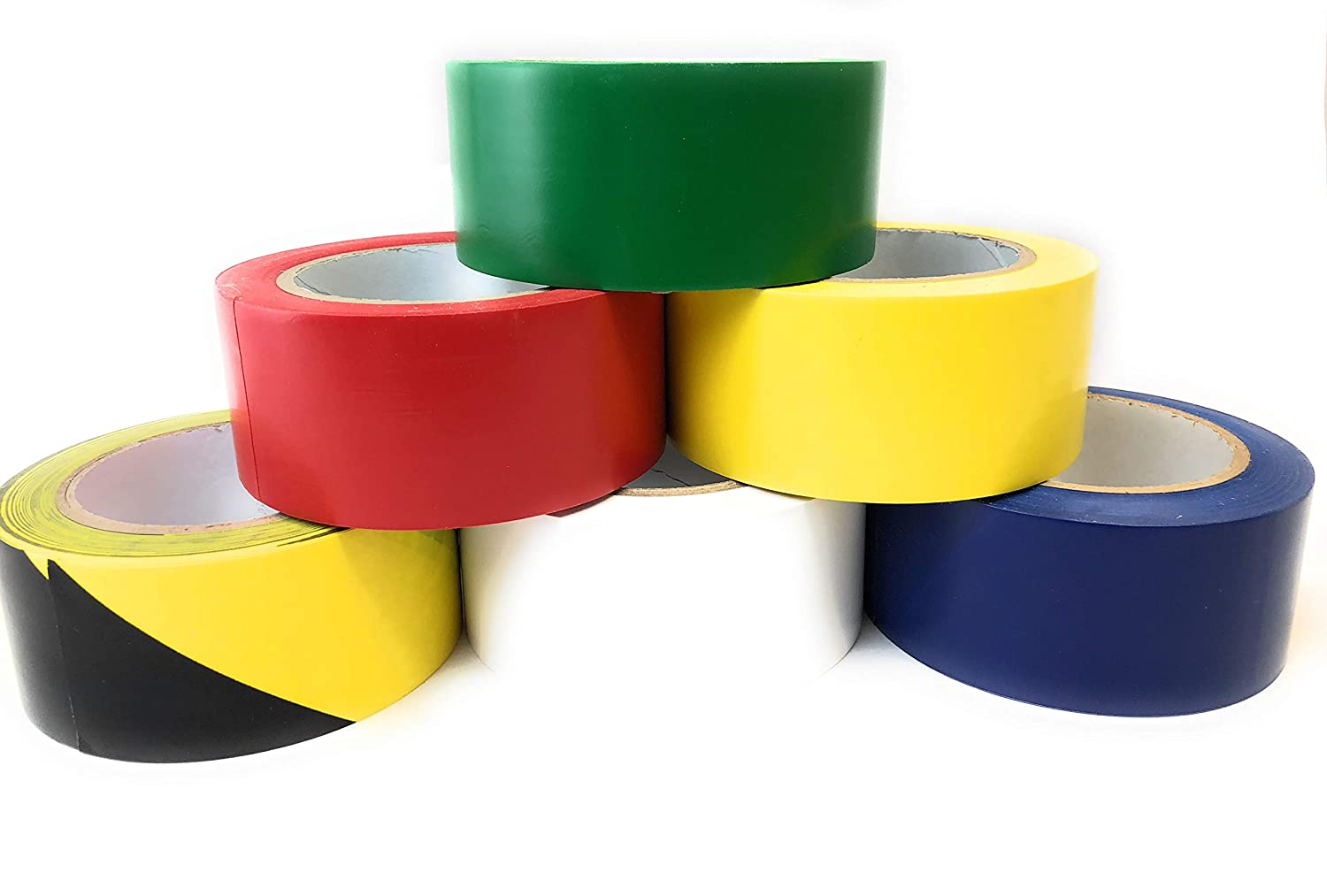2 Blue Single Roll and 5 Rolls Bundle PVC Marking Tape 2 Width X 36 Yds Length 6 mil Thick, Premium Vinyl Safety Marking and Dance Floor Splicing Tape Multiple Color APT,