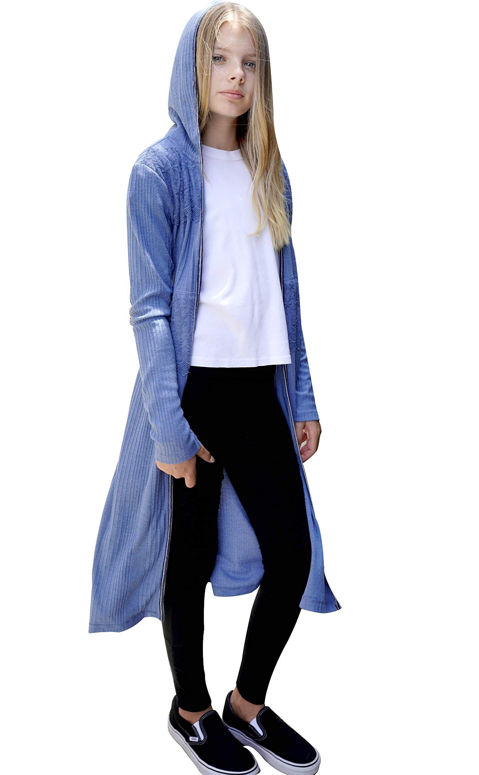 Smukke Big Girls Outerwear Jackets, Long Cardigans, Long Hoodies, Sweaters, 7-16 (10, Blue)