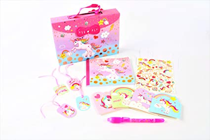 Hot Focus Rainbow Unicorn Secret Keeper Diary Journal Kit–Carrying Case with Passcode Lock Including