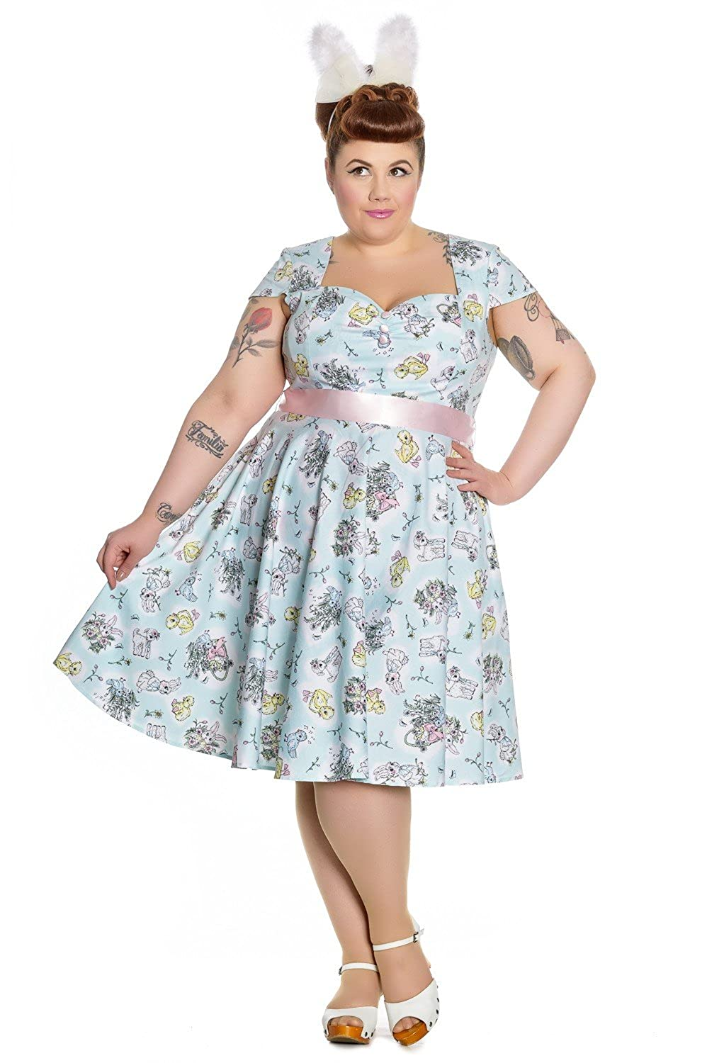 1960s Style Dresses- Retro Inspired Fashion Hell Bunny 60s Vintage Hallmark Easter Bunny Mint Blue Party Dress $79.95 AT vintagedancer.com