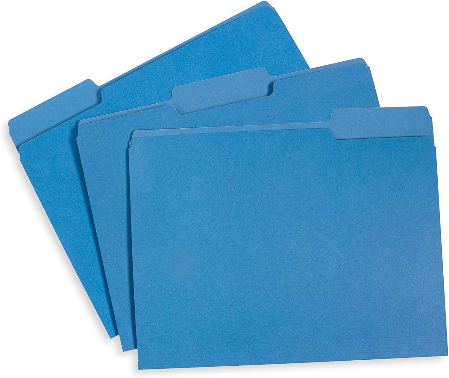 File Folder, 1/3 Cut Tab, Letter Size, Blue, Great for Organizing and Easy File Storage, 100 Per Box