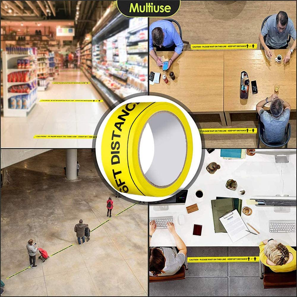 Safety Floor Tape Please Keep A Safe Distance of 2 Meters PVC Safety Stickers,Total 66 Sections,50cm Each Section,Strong Vinyl Yellow,1//4//6//12 Roll Can be OptionEasily Removed When Required